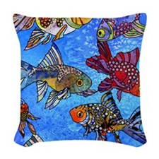 Wild Goldfish Woven Throw Pillow