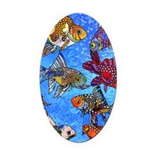 Wild Goldfish Oval Car Magnet