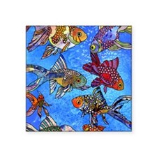 "Wild Goldfish Square Sticker 3"" x 3"""