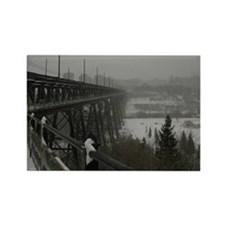 High Level Bridge on a Foggy Wint Rectangle Magnet