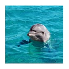 Dolphin Blue Water Tile Coaster