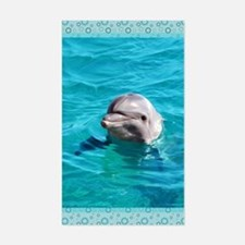 Dolphin Blue Water Sticker (Rectangle)