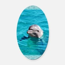 Dolphin Blue Water Oval Car Magnet