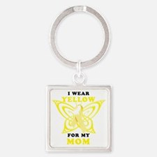 I Wear Yellow For My Mom Square Keychain