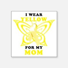 """I Wear Yellow For My Mom Square Sticker 3"""" x 3"""""""