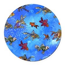 Wild Goldfish Round Car Magnet