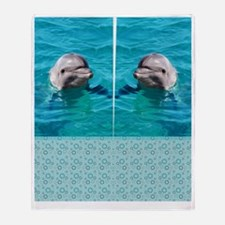 Dolphin Blue Water Throw Blanket