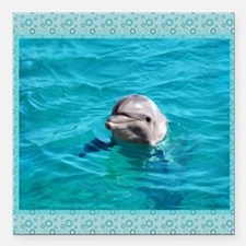 """Dolphin Blue Water Square Car Magnet 3"""" x 3"""""""