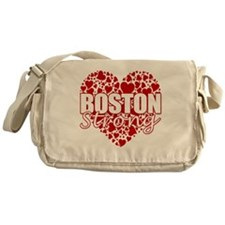 boston heart(blk) Messenger Bag