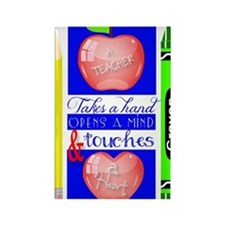 Teacher Touches a Heart Image Rectangle Magnet