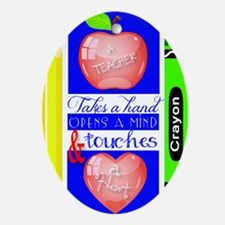 Teacher Touches a Heart Image Oval Ornament