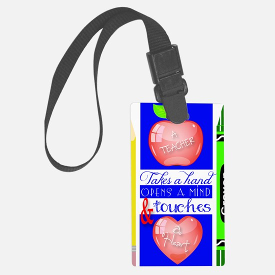 Teacher Touches a Heart Image Luggage Tag