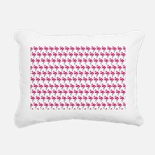 Flamingos Marching White Rectangular Canvas Pillow