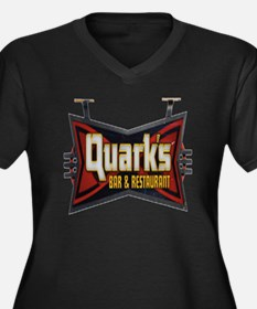 Quarks Bar Women's Plus Size Dark V-Neck T-Shirt
