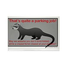 Parking Ferret (grey-red) Rectangle Magnet