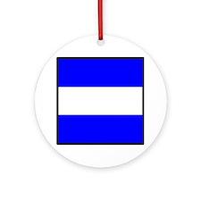 Nautical Flag Code Juliet Round Ornament