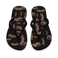 Retro Mustache Pattern Flip Flops