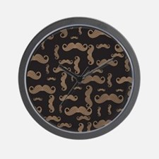 Retro Mustache Pattern Wall Clock