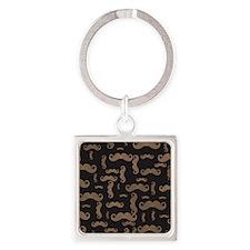 Retro Mustache Pattern Square Keychain