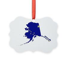 Alaska State Map and Flag Ornament