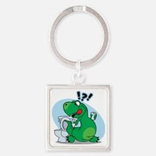 T-Rex and the Potty Square Keychain