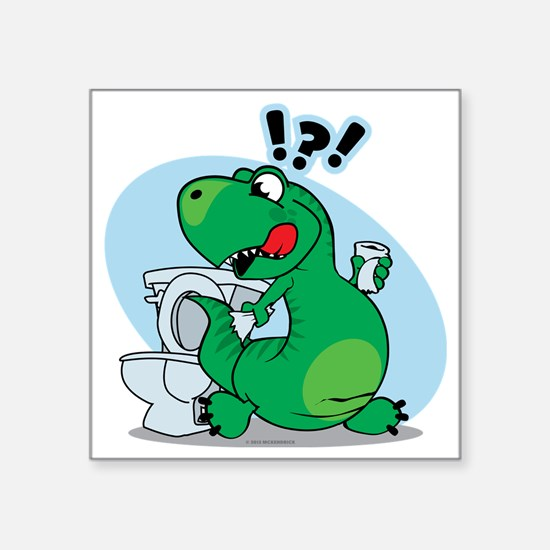 """T-Rex and the Potty Square Sticker 3"""" x 3"""""""