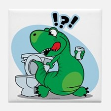T-Rex and the Potty Tile Coaster