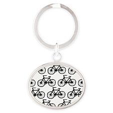 shower bike wide Oval Keychain