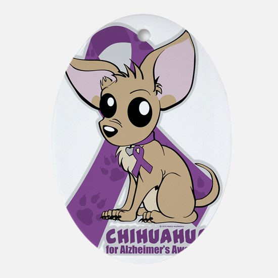 Chihuahuas for Alzheimers Awareness Oval Ornament