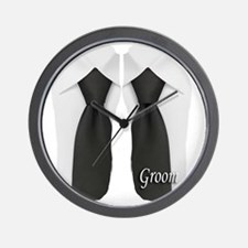 groom black tie flip flop Wall Clock