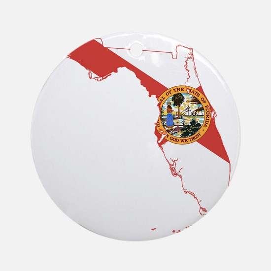 Florida State Flag and Map Round Ornament