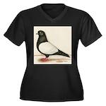 Black Whiteside Roller Pigeon Women's Plus Size V-