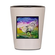 White Hen Illustration by GG Burns Shot Glass