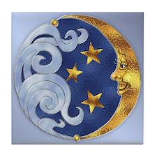 Celestial Moon and Stars Tile Coaster
