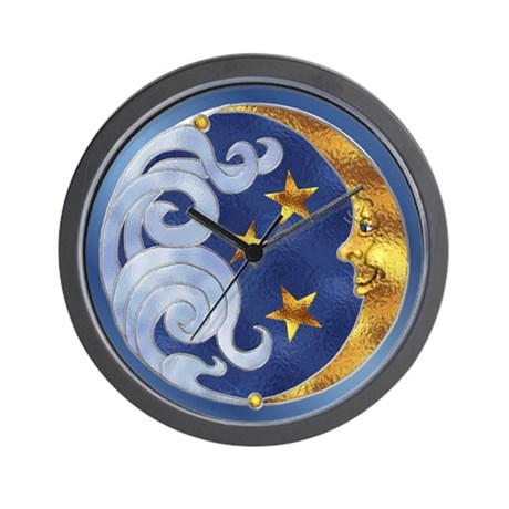 Celestial Moon and Stars Wall Clock
