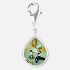 MOM-For to the birds Silver Teardrop Charm