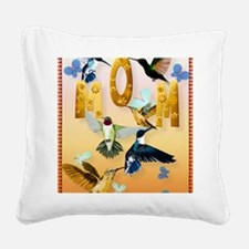 MOM-For to the birds on yello Square Canvas Pillow