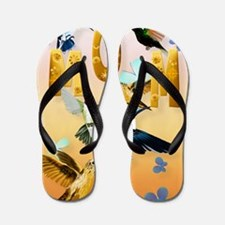 MOM-For to the birds on yellow Flip Flops