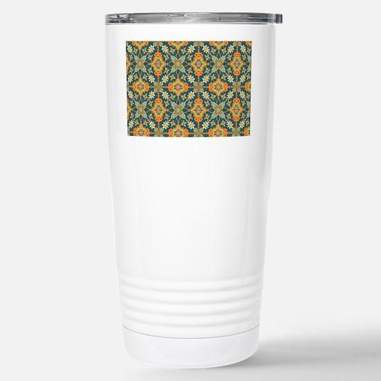 Elegant Aqua and Orange Stainless Steel Travel Mug