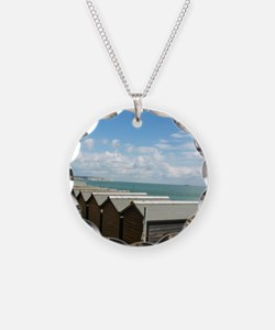 Isle of Wight Beach Huts Necklace Circle Charm