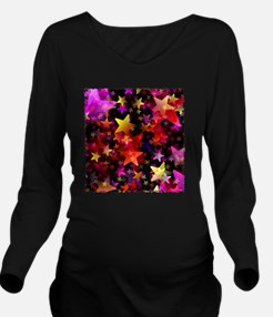 Rainbow Stars Long Sleeve Maternity T-Shirt