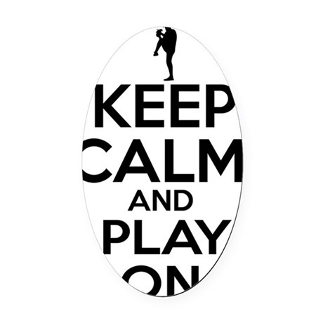 Keep calm and play Baseball Oval Car Magnet