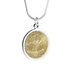 Huguenot-Walloon Half Dollar Silver Round Necklace