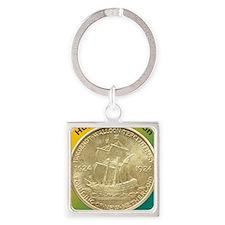 Huguenot-Walloon Half Dollar Coin  Square Keychain