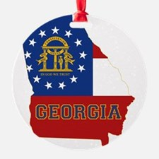 Georgia State Flag and Map Ornament