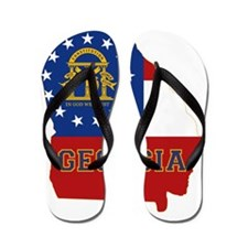 Georgia State Flag and Map Flip Flops