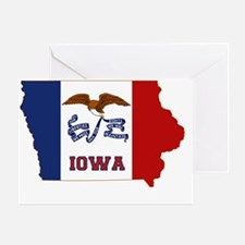 Iowa State Flag and Map Greeting Card