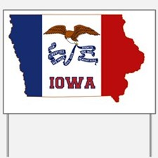 Iowa State Flag and Map Yard Sign