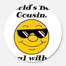 Worlds Best Cousin Humor Round Car Magnet