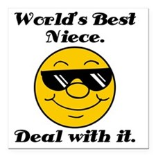 "Worlds Best Niece Humor Square Car Magnet 3"" x 3"""